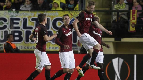 La gioia dello Sparta dopo il gol del pareggio siglato da Brabec. Fonte: Getty Images.