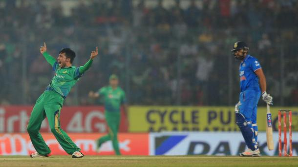 Mohammad Amir celebrates against India during Asia Cup (image via: cricinfo)