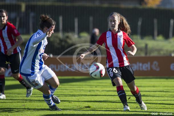 Maite Oroz en el partido contra la Real Sociedad.   Foto: Athletic Club