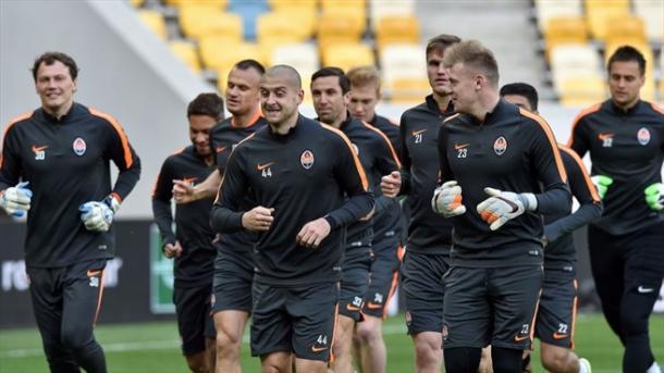 L'allenamento dello Shakhtar, ieri nell'Arena Lviv. Fonte: AFP/Getty Images.