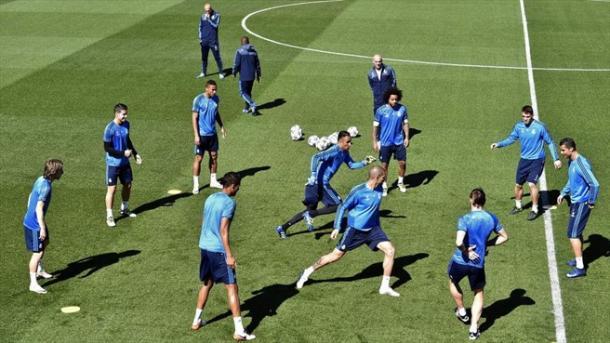 I Blancos si allenano in vista del match con il City. Fonte: AFP/Getty Images.