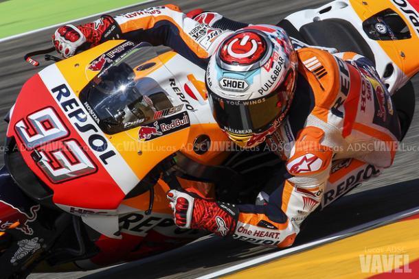 Márquez, durante el GP Aragón / Lucas ADSC