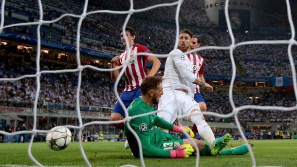 La zampata di Sergio Ramos per il vantaggio Real.  Fonte: it.uefa.com