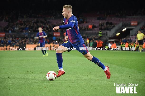 Gerard Deulofeu en el partido frente al Murcia en el Camp Nou. Foto: Noelia Déniz, VAVEL.com