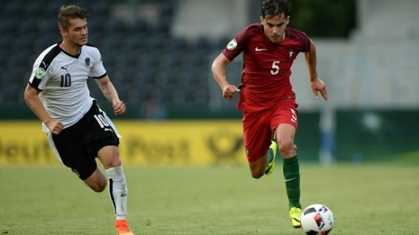 Above: Yuri Riberio on the ball against Philipp Malicsek in Austria's 1-1 draw with Portugal | Photo: Panoramic