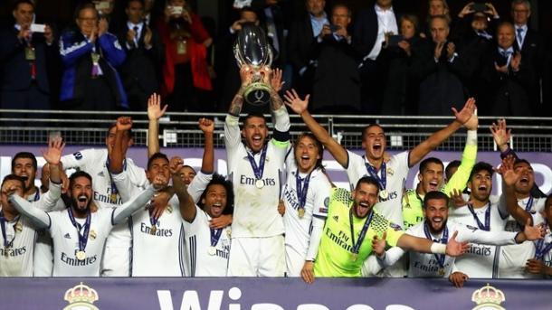 Mesmo sem as estrelas o Real Madrid conseguiu superar o Sevilla na final da Supercopa da Europa (Foto: UEFA)
