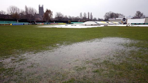 A wet outfield prevented any play on day two at Worcester | Photo: AP