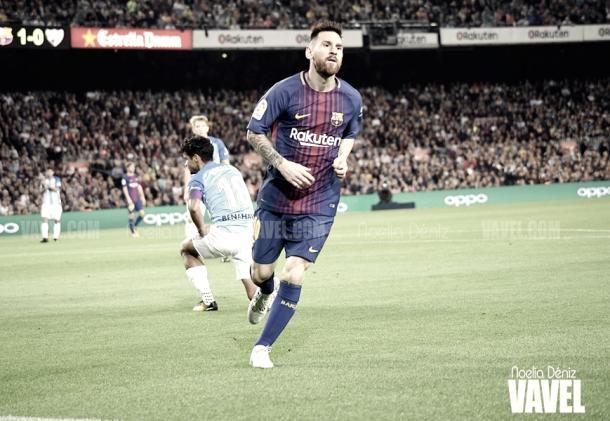 Lionel Messi celebra un gol frente al Málaga. Foto: Noelia Déniz, VAVEL.com