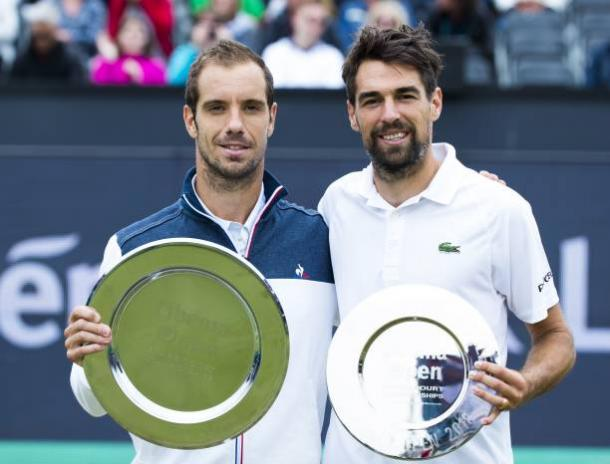 Richard Gasquet (left) and Jeremy Chardy pose with their trophies after their all-French final at the Libema Open. Photo: Getty Images