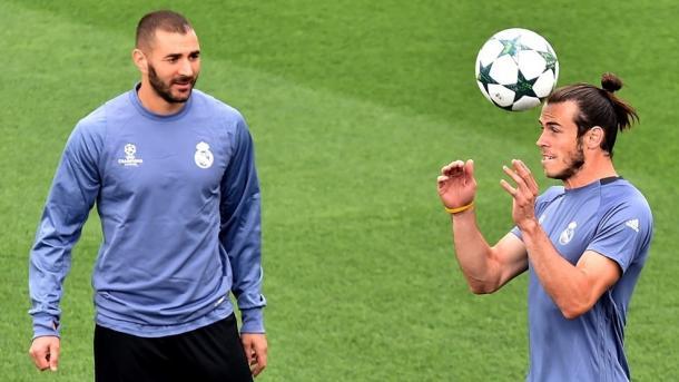 Benzema e Bale durante l'ultimo allenamento. Fonte foto: it.uefa.com