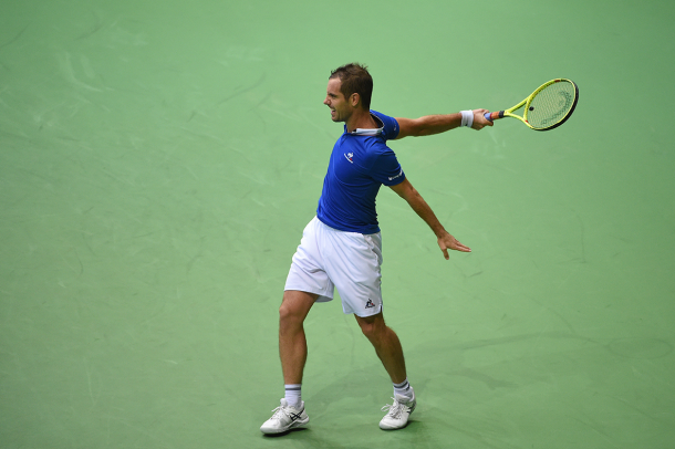 Gasquet was ruthless in jumping out to an early one set lead, needing just 36 minutes to take the first set/Photo: Davis Cup