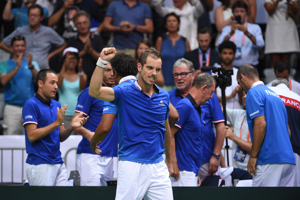 Gasquet was pumped after winning the third set in flawless fashion, wrapping up a comprehensive victory to send France into the early lead in the tie/Photo: Corrine Dubreuil/Davis Cup