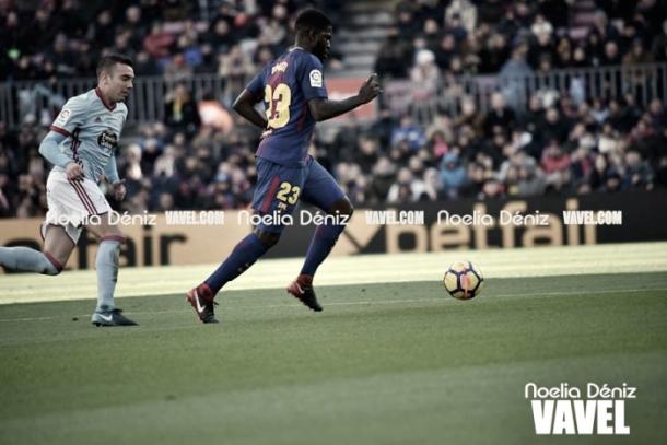 Umtiti en el partido ante el Celta de Vigo en el Camp Nou | Foto: Noelia Déniz, VAVEL