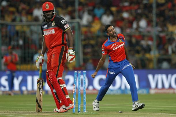 Kulkarni celebrates the wicket of Gayle | Photo: BCCI