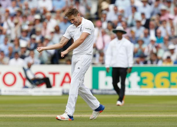 Woakes celebrates his maiden five wicket haul in tests | Photo: Getty