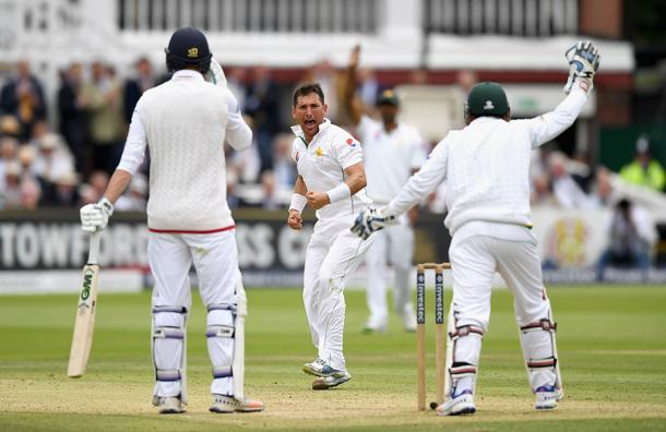 Yasir celebrates getting Vince out LBW | Photo: Getty