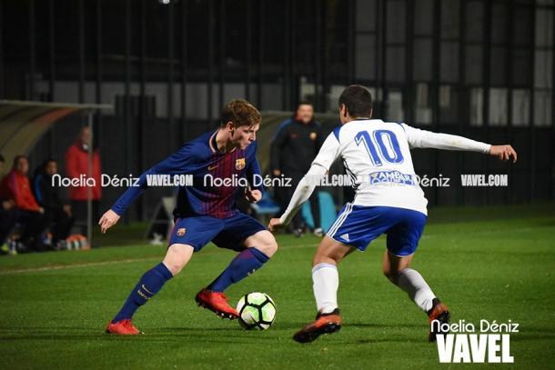 Sergio Gómez con el Juvenil A frente al Real Zaragoza | Foto: Noelia Déniz, VAVEL