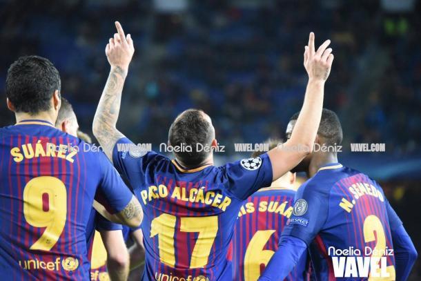 Paco Alcácer se estrenó como goleador en Champions gracias a un gran remate al primer palo. | Fotografía: Noelia Déniz