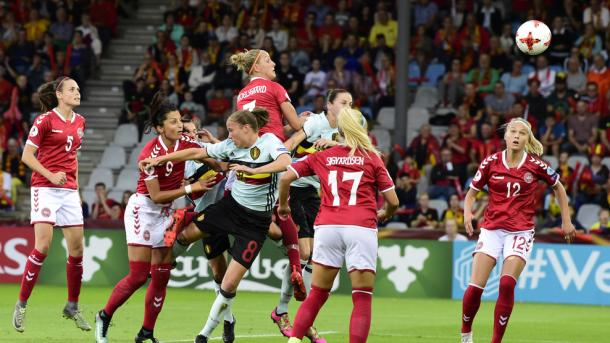 Nadia Nadim and Line Sigvarsden Jensen played their part in Denmark's win over Belgium | Source: uefa.com