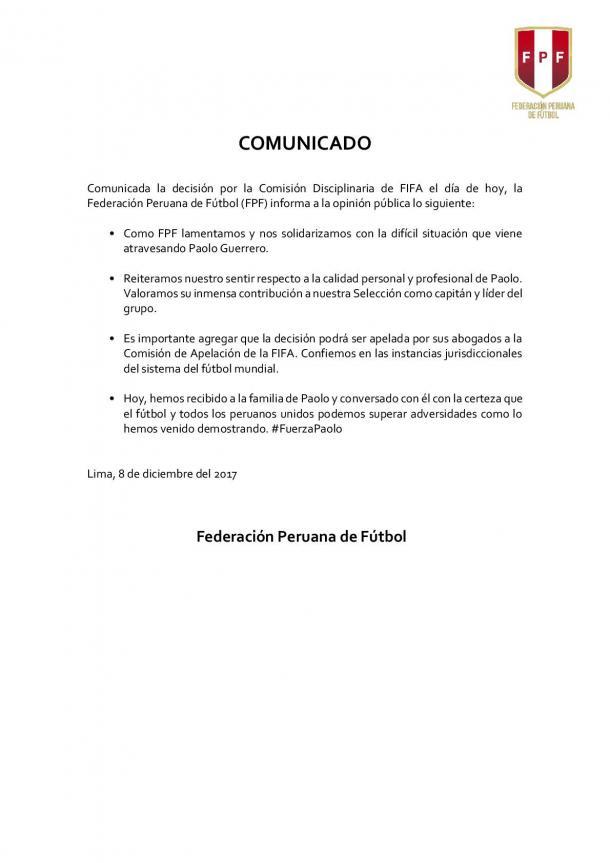 Comunicado - Caso Paolo Guerrero | Foto: FPF