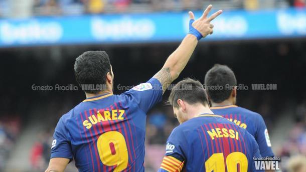 Luis Suárez anotó ante el Celta su tercer gol en tres jornadas | Foto: Ernesto Aradilla - VAVEL