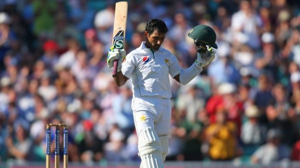 Shafiq celebrates scoring his ninth test century | Photo: Getty