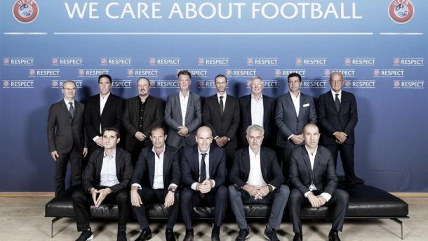 Treinadores e dirigentes que participaram da reunião organizada pela Uefa | Foto: Divulgação/Uefa