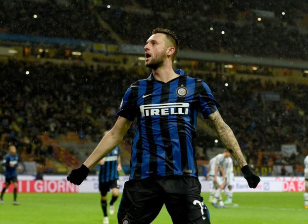 L'esultanza di Brozovic (foto Inter.it)