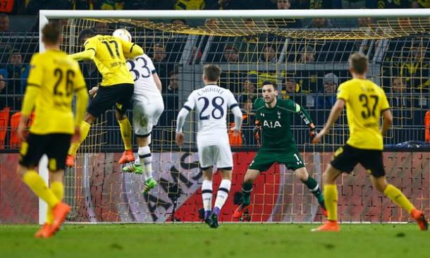 Aubameyang scoring Dortmund's opening goal against Spurs last week | Photo: Getty Images