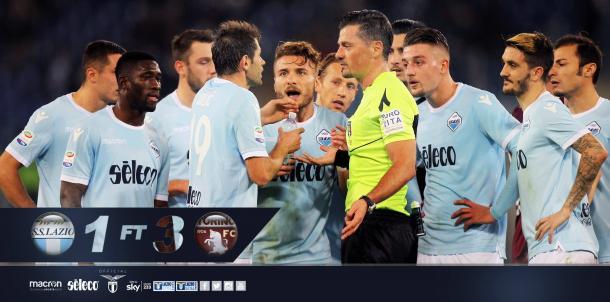 Immobile fue expulsado en una acción con Burdisso / Foto: Lazio
