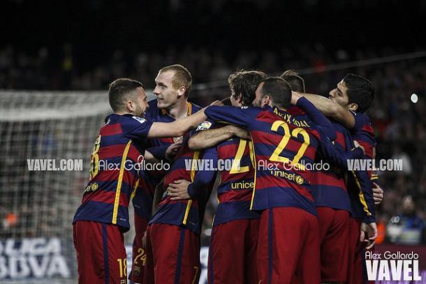 Jugadores del FC Barcelona celebrando uno de sus goles. Fuente: Álex Gallardo (VAVEL)