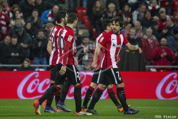 Los jugadores del Athletic Club celebra un gol ante el Deportivo | Fotografía: UGS Vision
