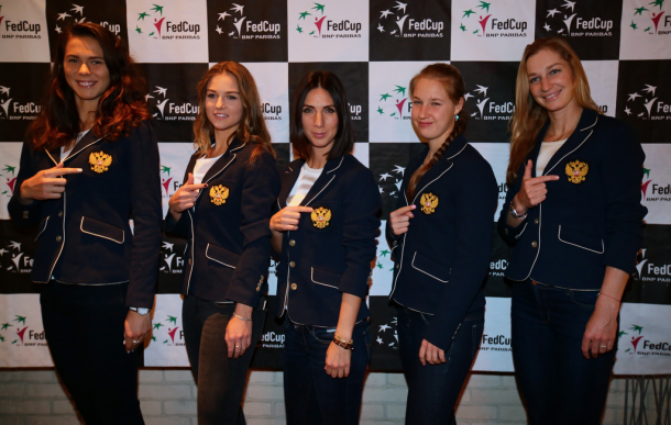 Team Russia at the official dinner of their World Group II tie in February; only one player remains (Anna Blinkova) from that team | Photo: Andrei Golovanov / Fed Cup