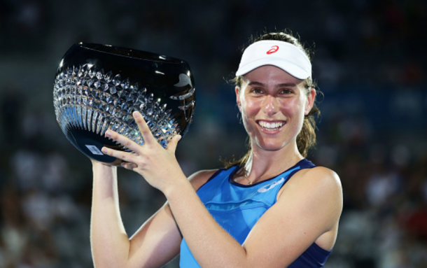 Konta kicked off her season with a semifinal, a quarterfinal, and a title in Sydney (
