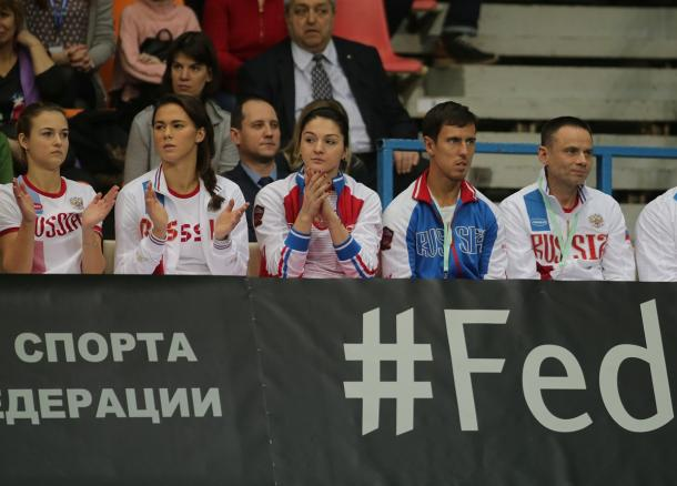 Margarita Gasparyan was present during the tie today | Photo: Fed Cup/Andrei Golovanov