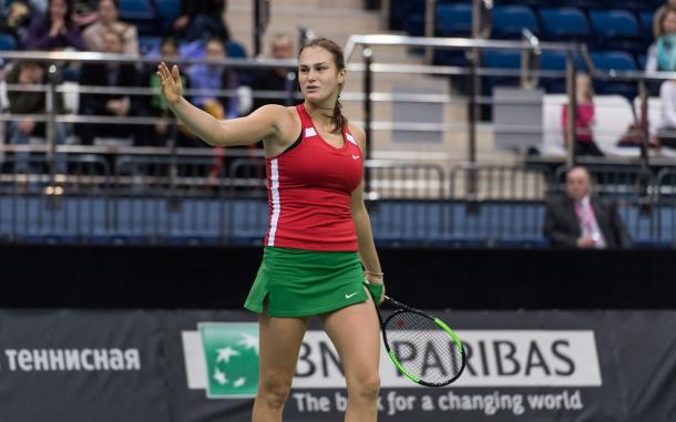 Aryna Sabalenka missed a match point | Photo: Daniel Kopatsch/Fed Cup
