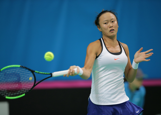 Chang Kai-chen won Chinese Taipei's only point this weekend | Photo: Fed Cup/Andrei Golovanov