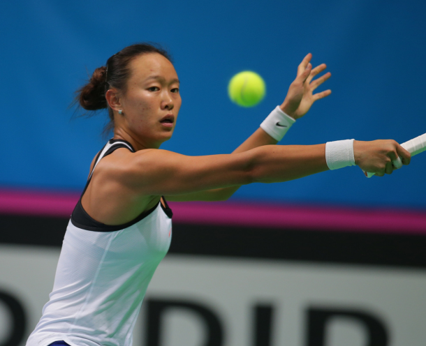 Chang Kai-chen in action | Photo: Fed Cup/Andrei Golovanov