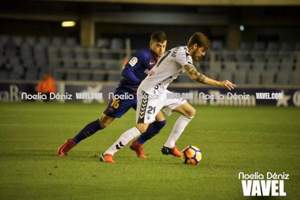 José Arnáiz en el partido ante el Albacete. | Foto: Noelia Déniz, VAVEL