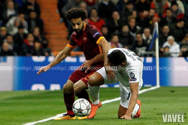 Salah durante el partido ante el Real Madrid de Champions (15/16) / Foto: @rodrigo_ji (VAVEL).