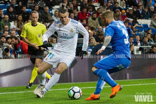 Bale durante el encuentro ante el Getafe en casa. Fuente: Daniel Nieto VAVEL