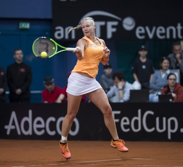 Kiki Bertens in action at Fed Cup last Sunday | Photo: Henk Koster/Fed Cup