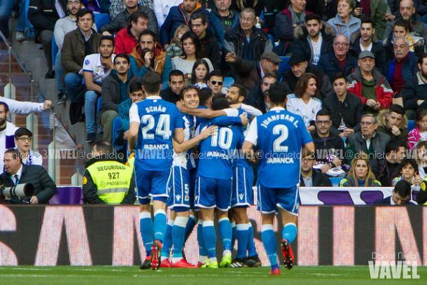 Los jugadores del Deportivo celebra el tanto de Adrián | Foto: Daniel Nieto (VAVEL)