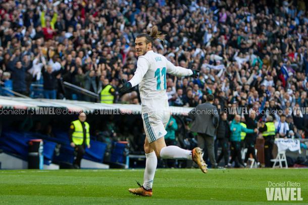 Bale celebra uno de sus goles en la tarde de ayer | Foto: Daniel Nieto (VAVEL)