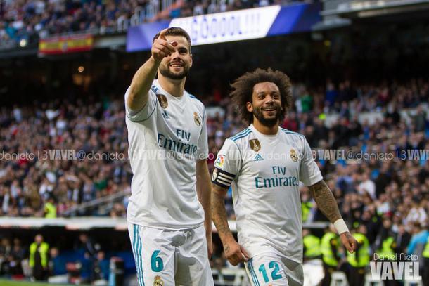 Nacho y Marcelo celebran un gol del canterano. // Imagen: Daniel Nieto (VAVEL)