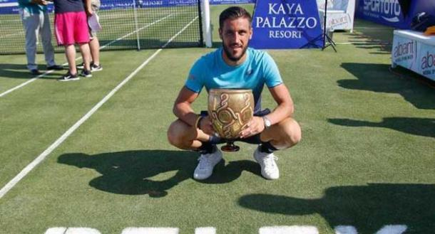 Damir Dzumhur poses with his trophy after winning in Antalya. Photo: Gokhan Taner/ATP World Tour
