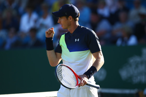 Andy Murray pumps his fist during his second round match in Eastbourne. Photo: Getty Images