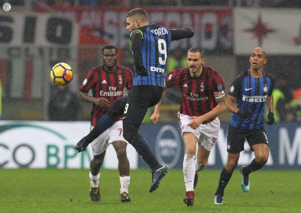 Icardi durante el encuentro de 'Coppa' ante el Milán / Foto: Inter