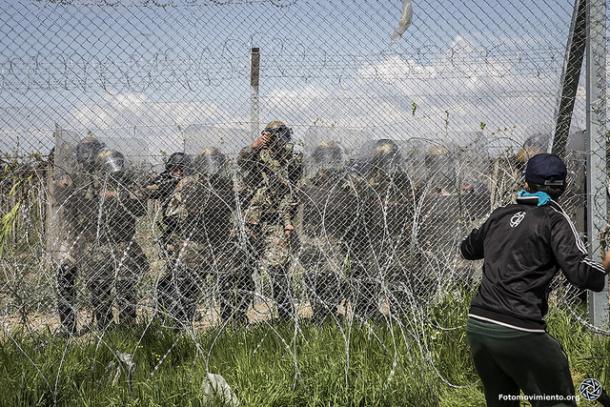 Altercado en la frontera de Idomeni. Grecia Imagen: Fotmovimiento
