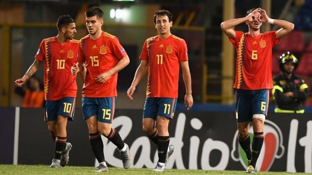 Dani Ceballos, Aguirregabiria, Oyarzabal y Fabián Ruiz / Foto: UEFA